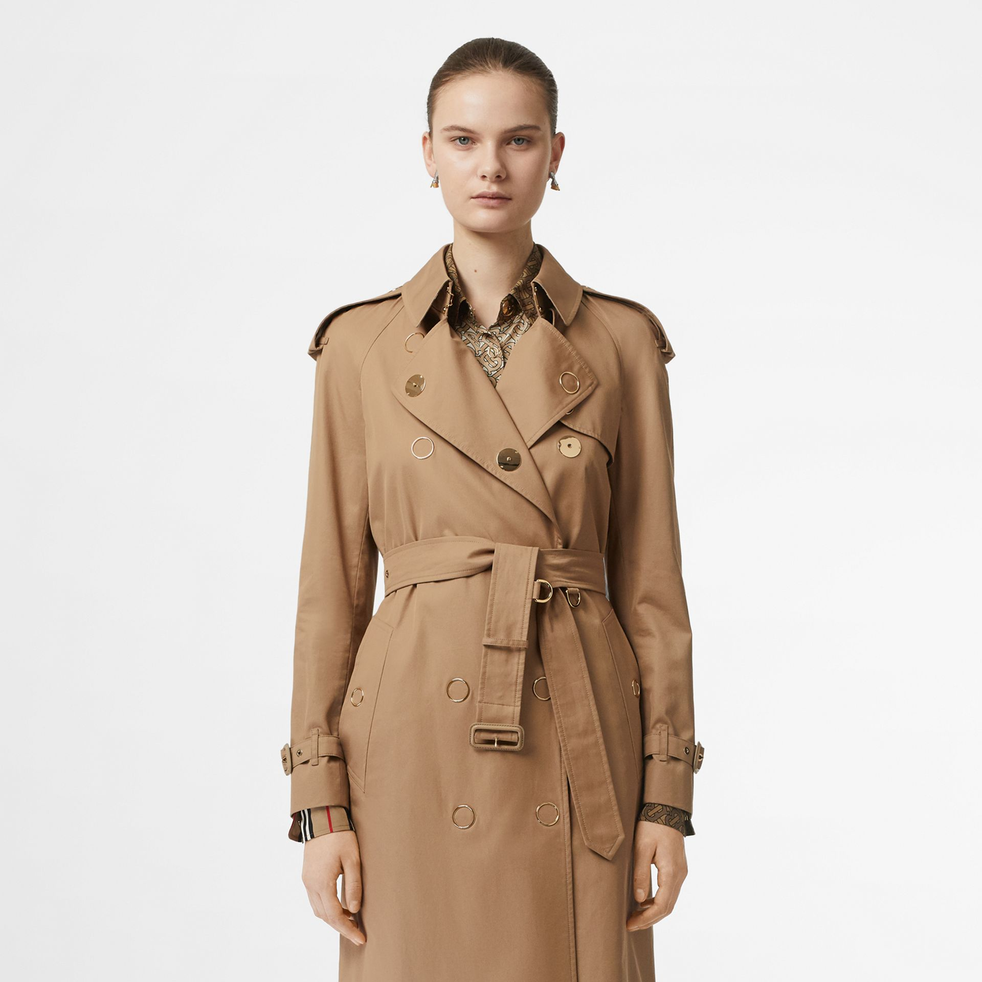 Press-stud Detail Cotton Gabardine Trench Coat in Driftwood - Women | Burberry Singapore - gallery image 7