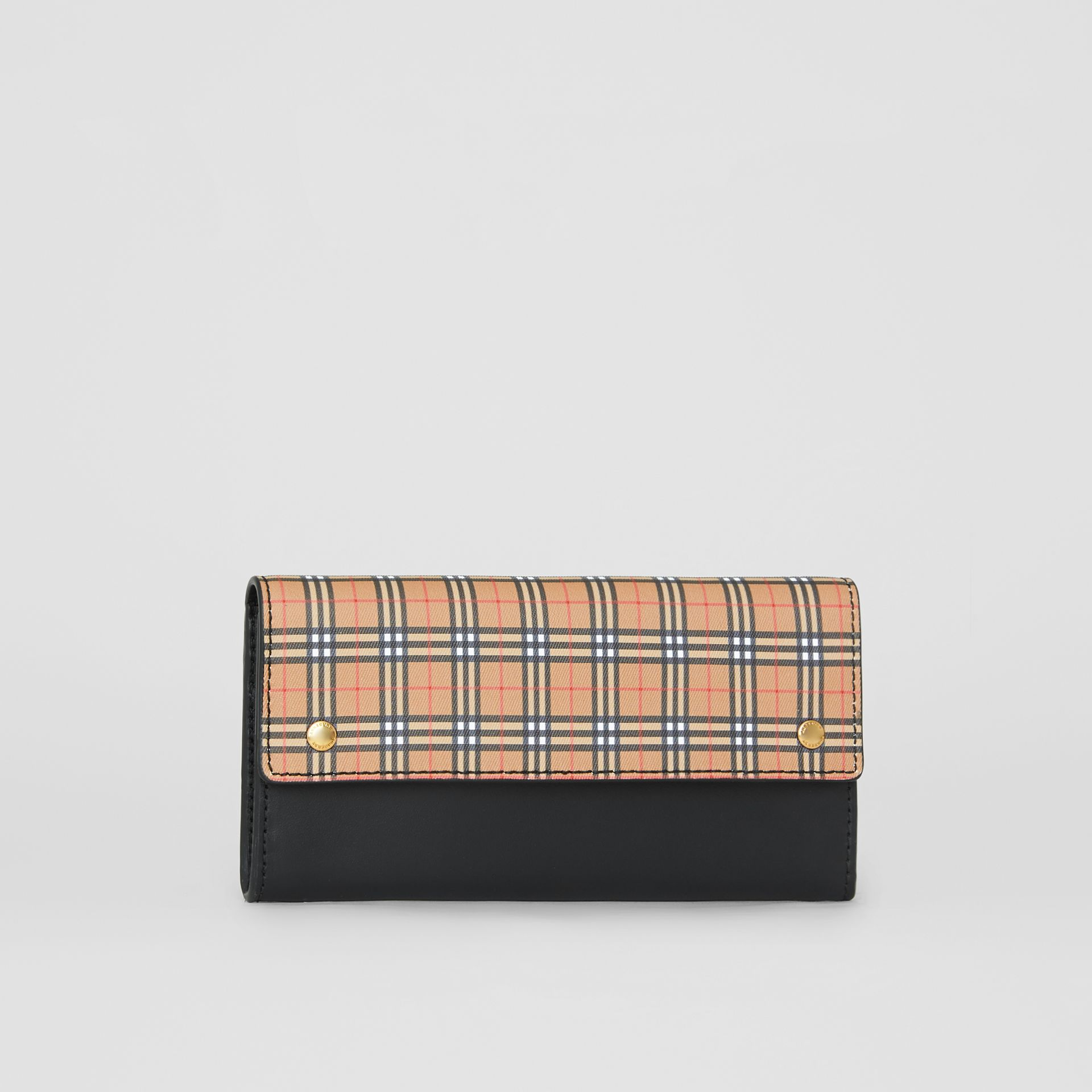 Small Scale Check and Leather Continental Wallet in Antique Yellow - Women | Burberry - gallery image 4