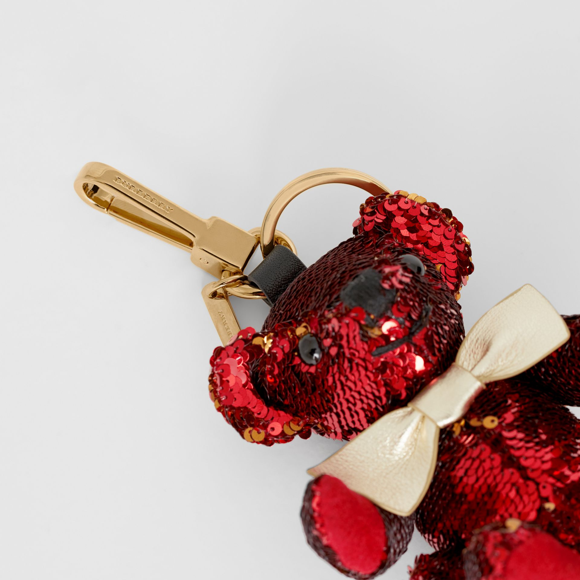 Thomas Bear Charm in Sequins and Leather in Red - Women | Burberry United Kingdom - gallery image 1