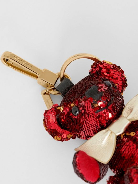 Thomas Bear Charm in Sequins and Leather in Red - Women | Burberry - cell image 1