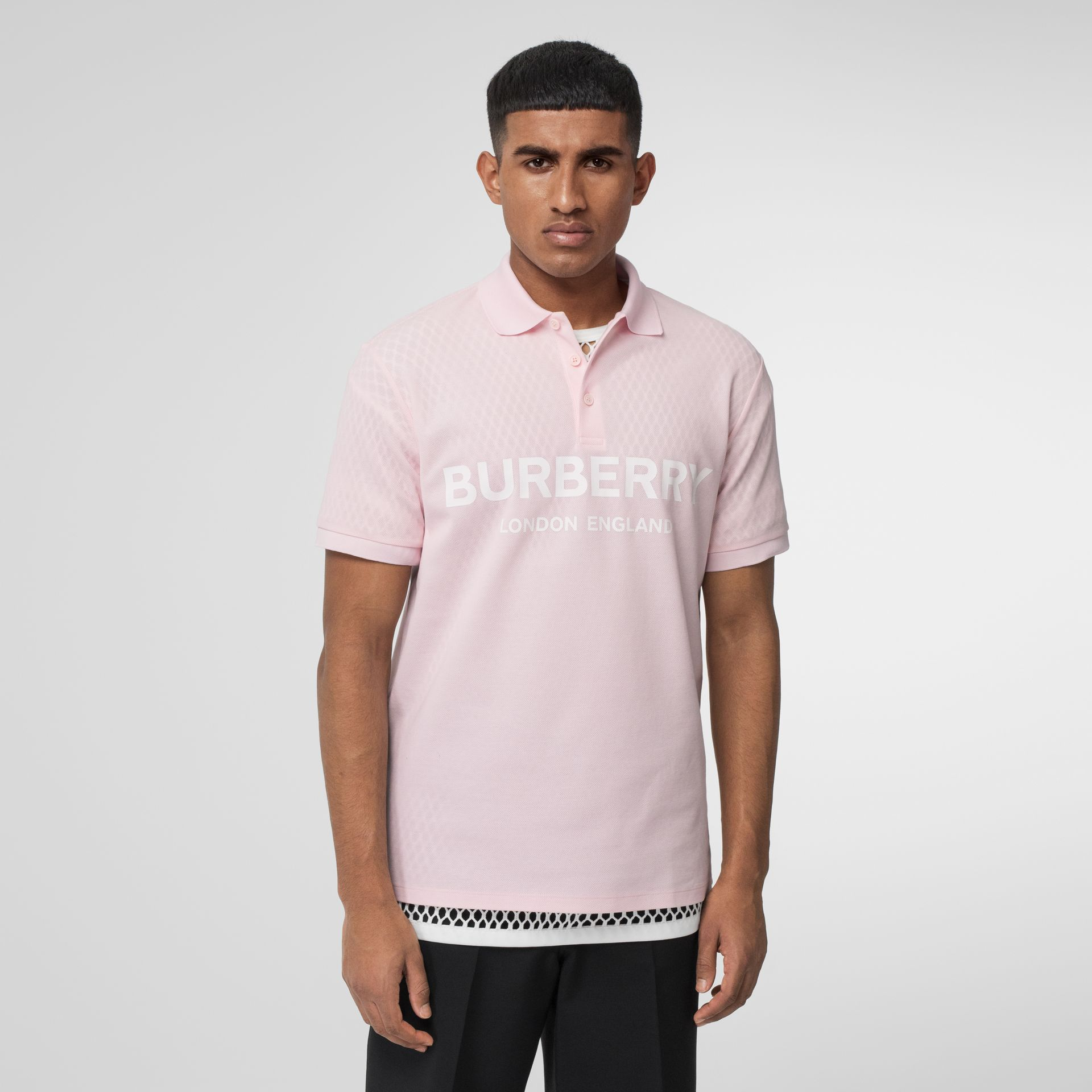 Logo Print Cotton Piqué Polo Shirt in Alabaster Pink - Men | Burberry - gallery image 0