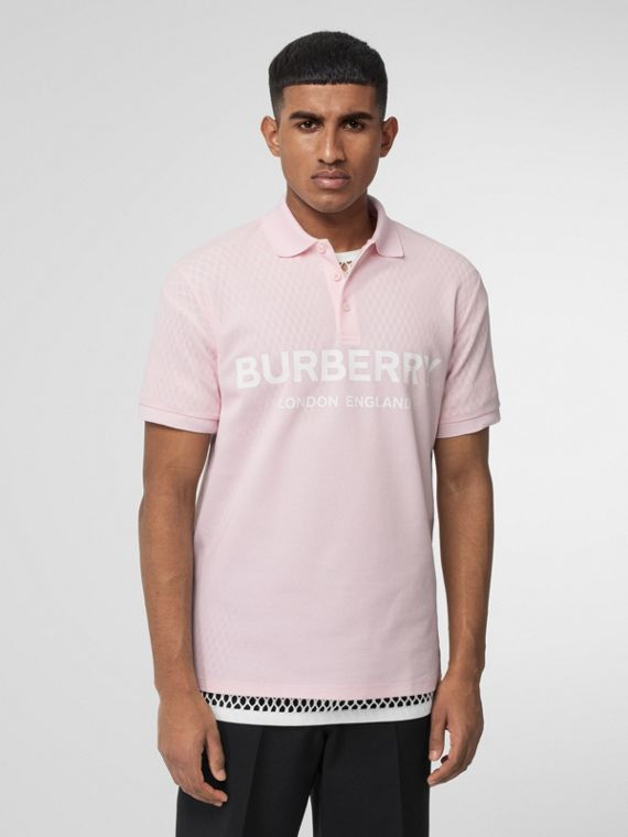 Logo Print Cotton Piqué Polo Shirt in Alabaster Pink