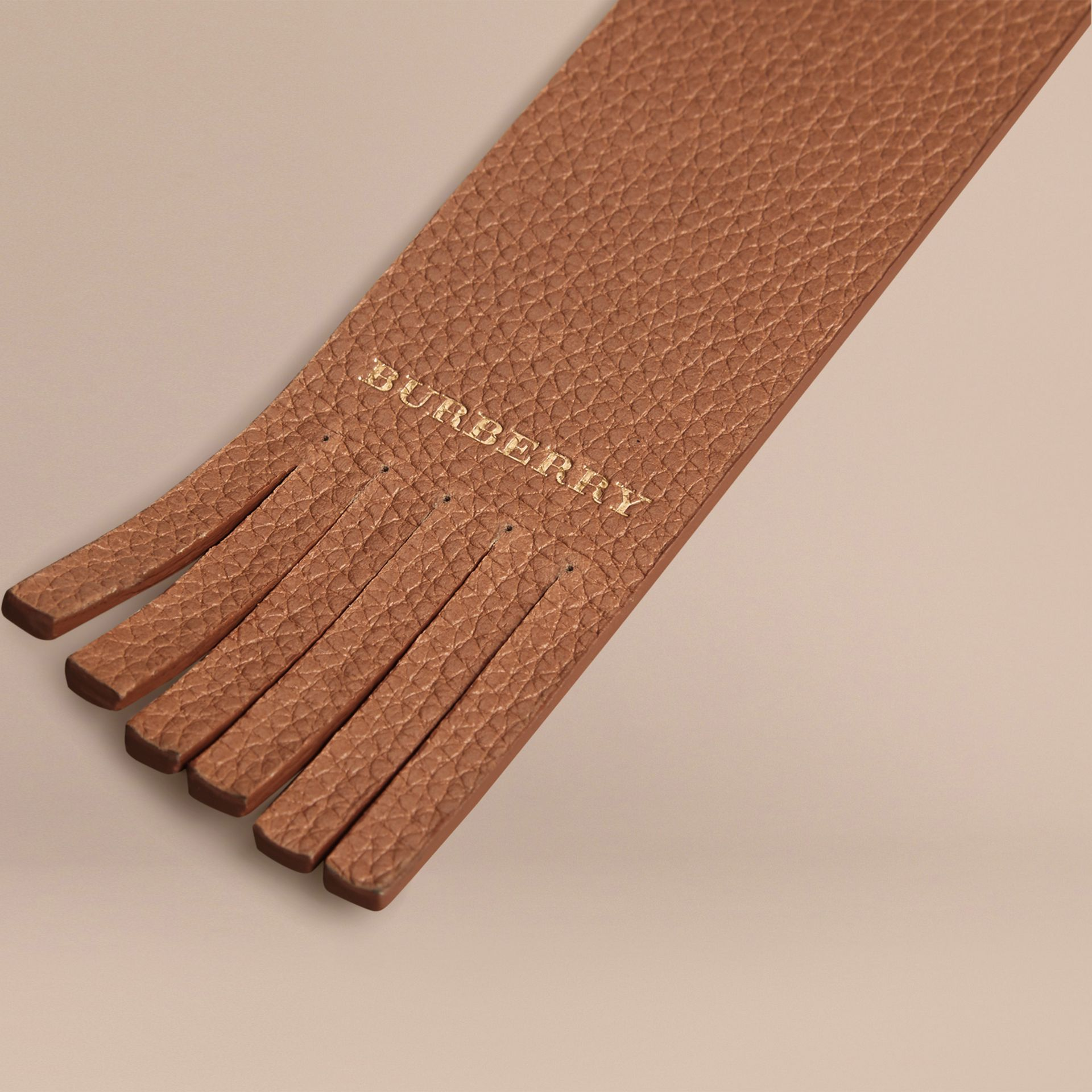 Grainy Leather Bookmark in Tan | Burberry - gallery image 2