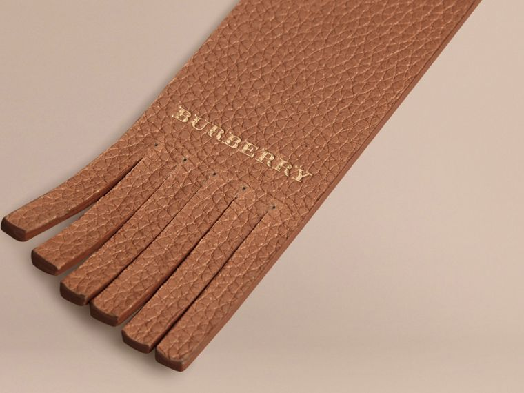 Grainy Leather Bookmark in Tan | Burberry Australia - cell image 1