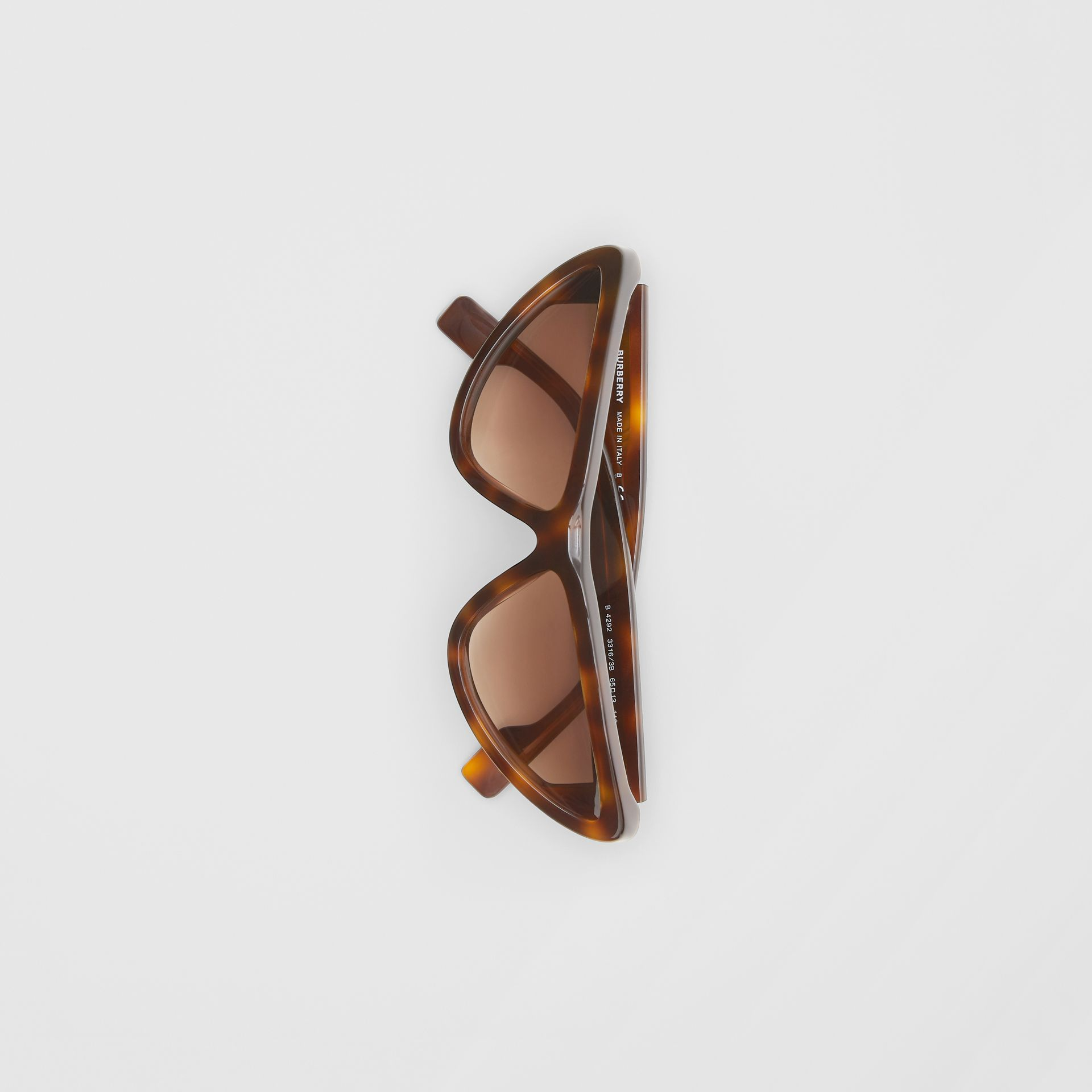 Triangular Frame Sunglasses in Tortoiseshell - Women | Burberry - gallery image 3
