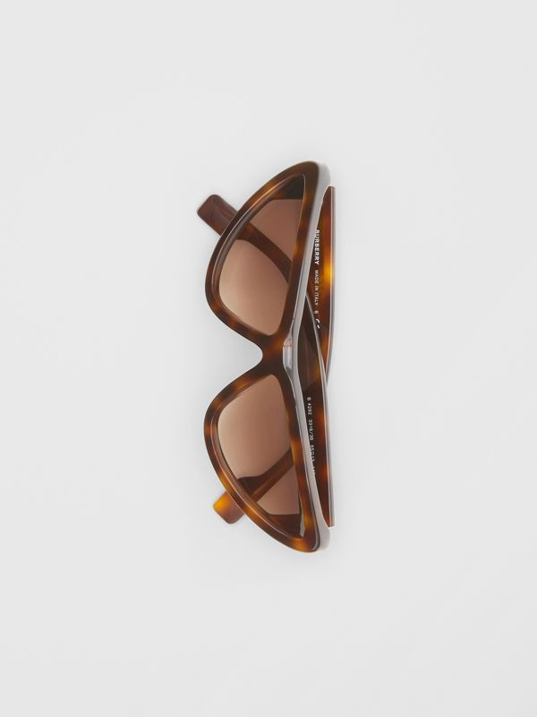 Triangular Frame Sunglasses in Tortoiseshell - Women | Burberry - cell image 3