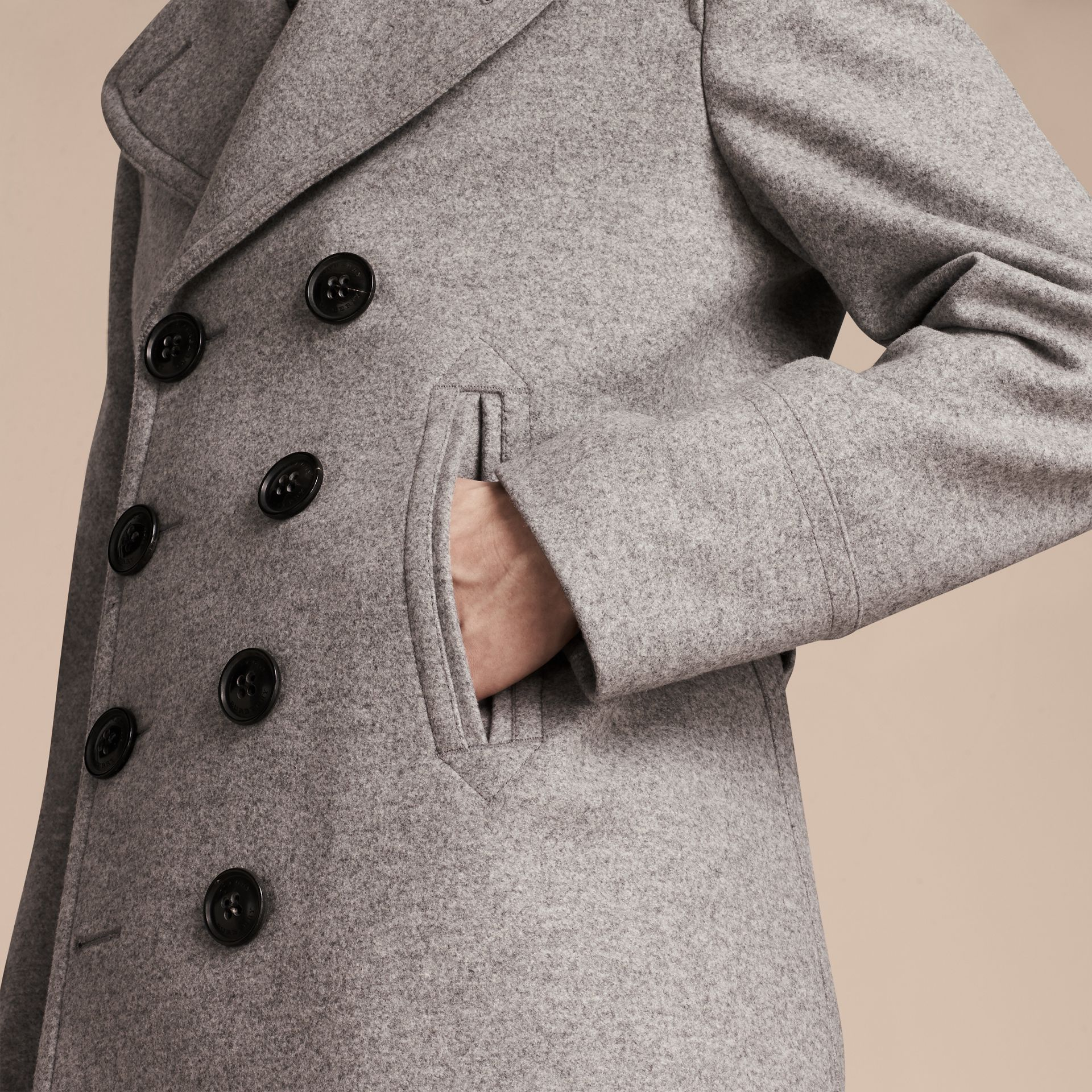Wool Cashmere Pea Coat in Pale Grey Melange - gallery image 6