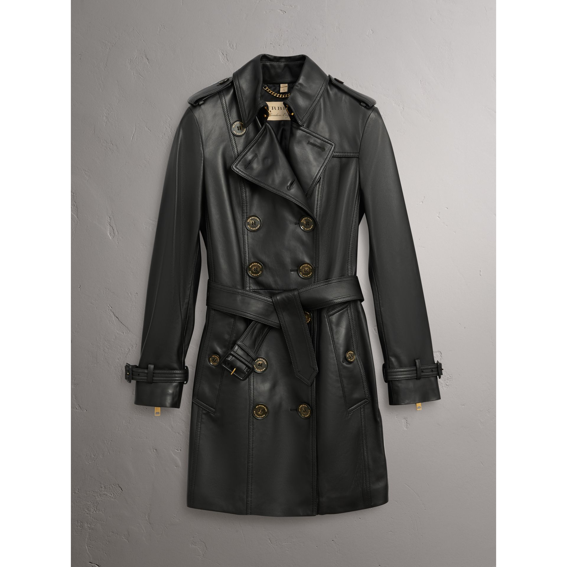 Lambskin Trench Coat in Black - Women | Burberry - gallery image 4