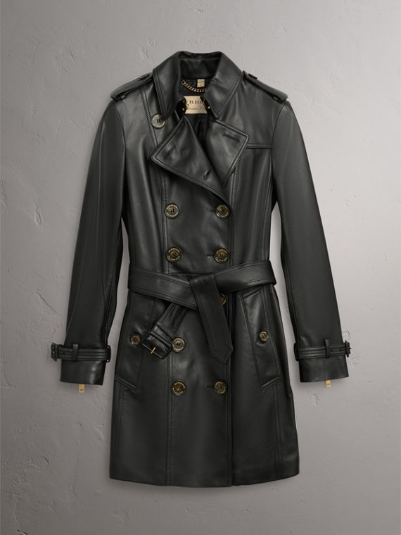 Lambskin Trench Coat in Black - Women | Burberry United Kingdom - cell image 3