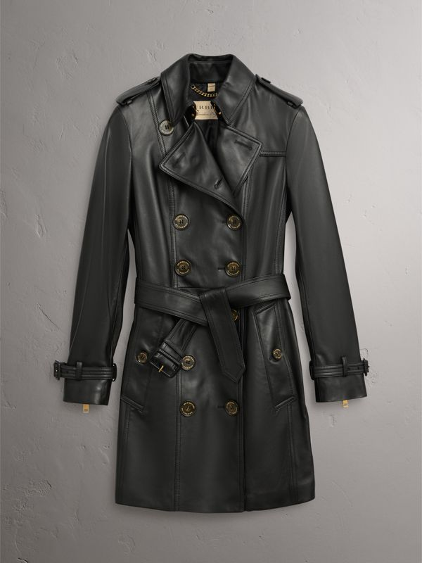Lambskin Trench Coat in Black - Women | Burberry Singapore - cell image 3