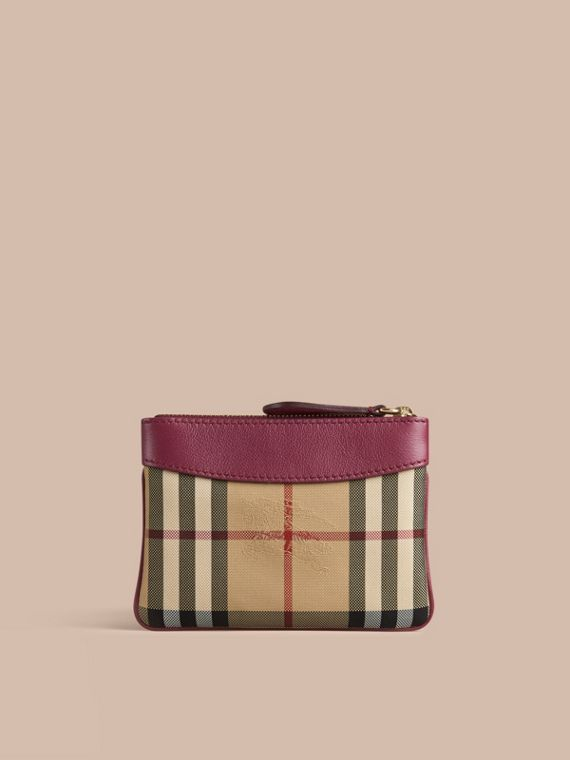 Dark plum Horseferry Check and Leather Pouch Dark Plum - cell image 2