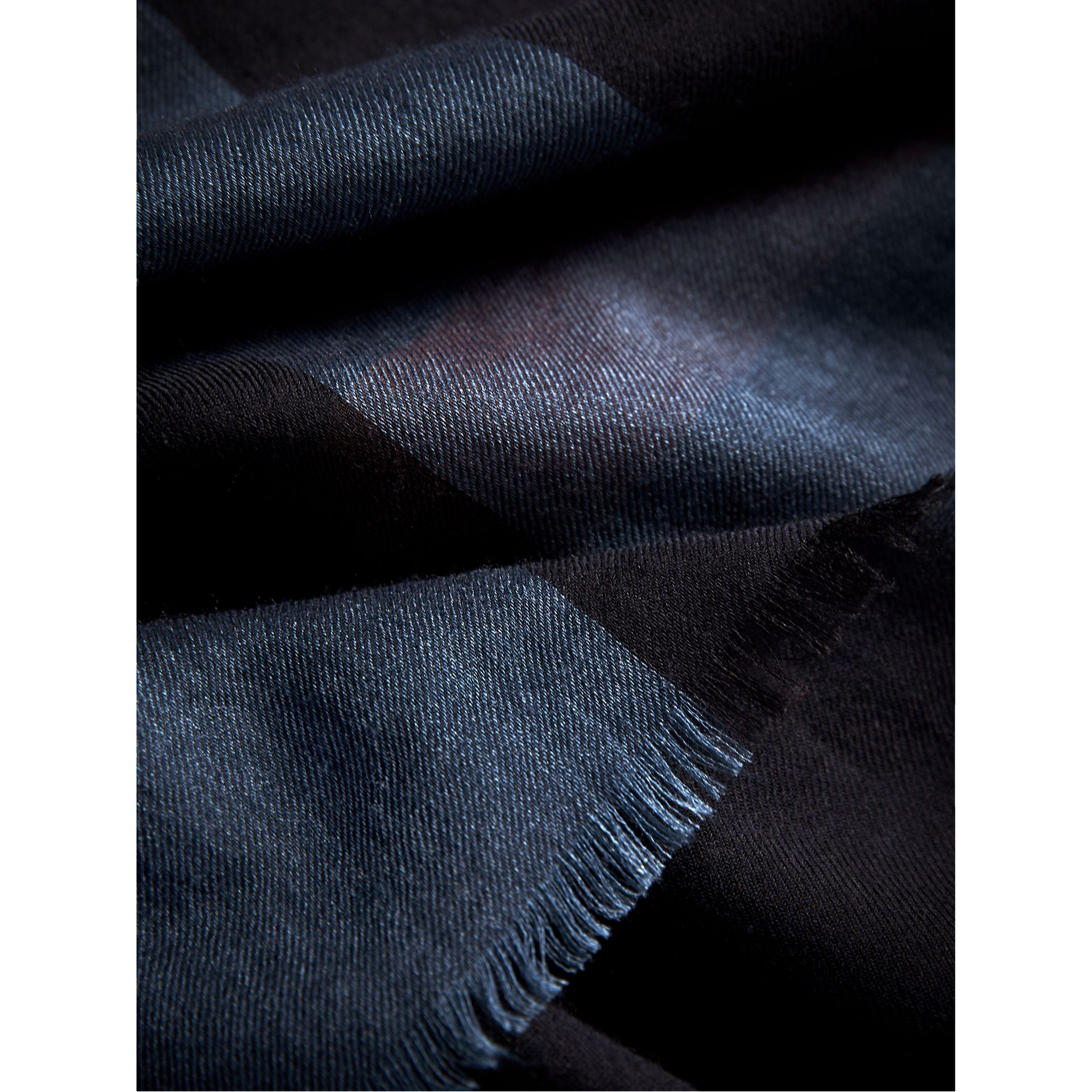 Large Lightweight Check Silk Modal Wool Square Scarf in Navy - Men | Burberry - gallery image 2