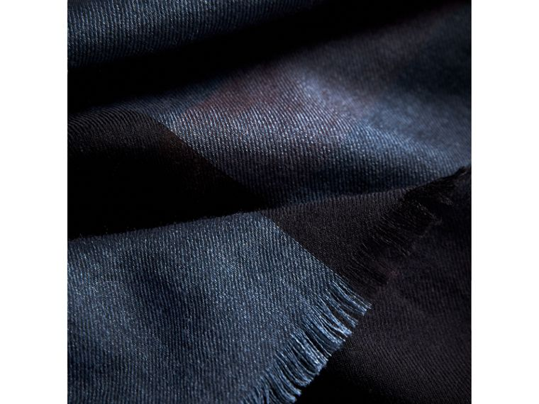 Large Lightweight Check Silk Modal Wool Square Scarf in Navy - Men | Burberry - cell image 1