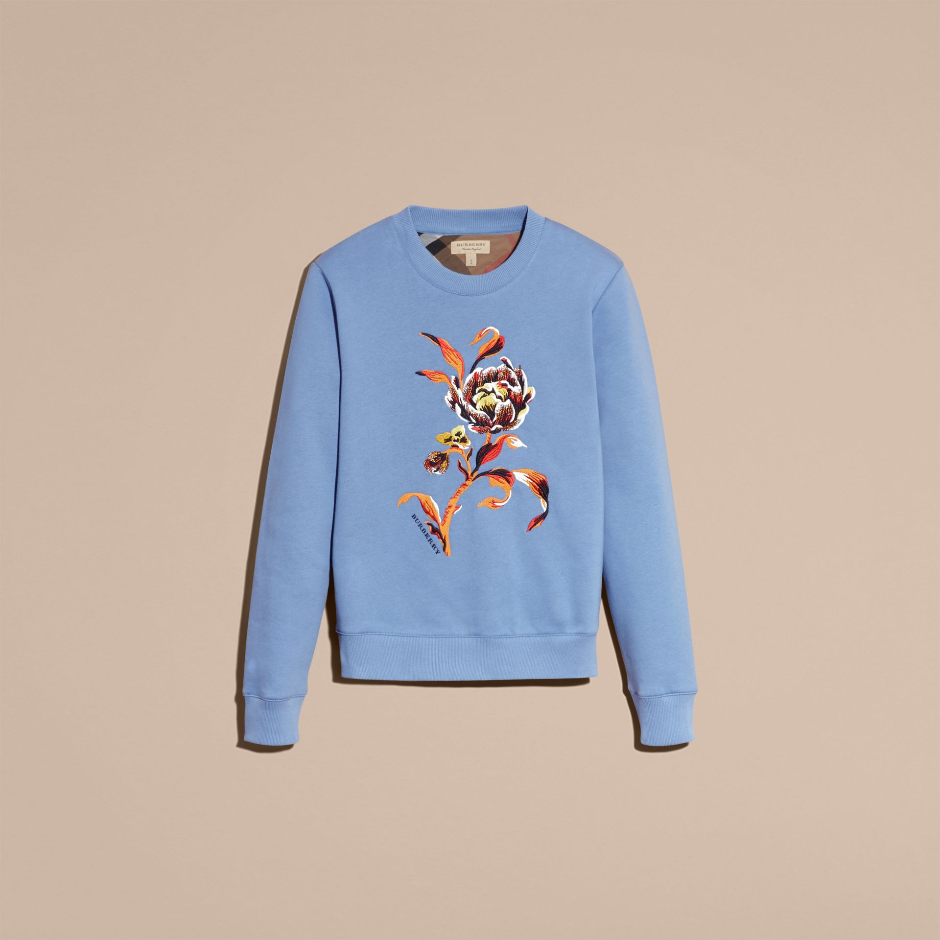 Embroidered Floral Motif Cotton Blend Sweatshirt Pale Hydrangea Blue - gallery image 4