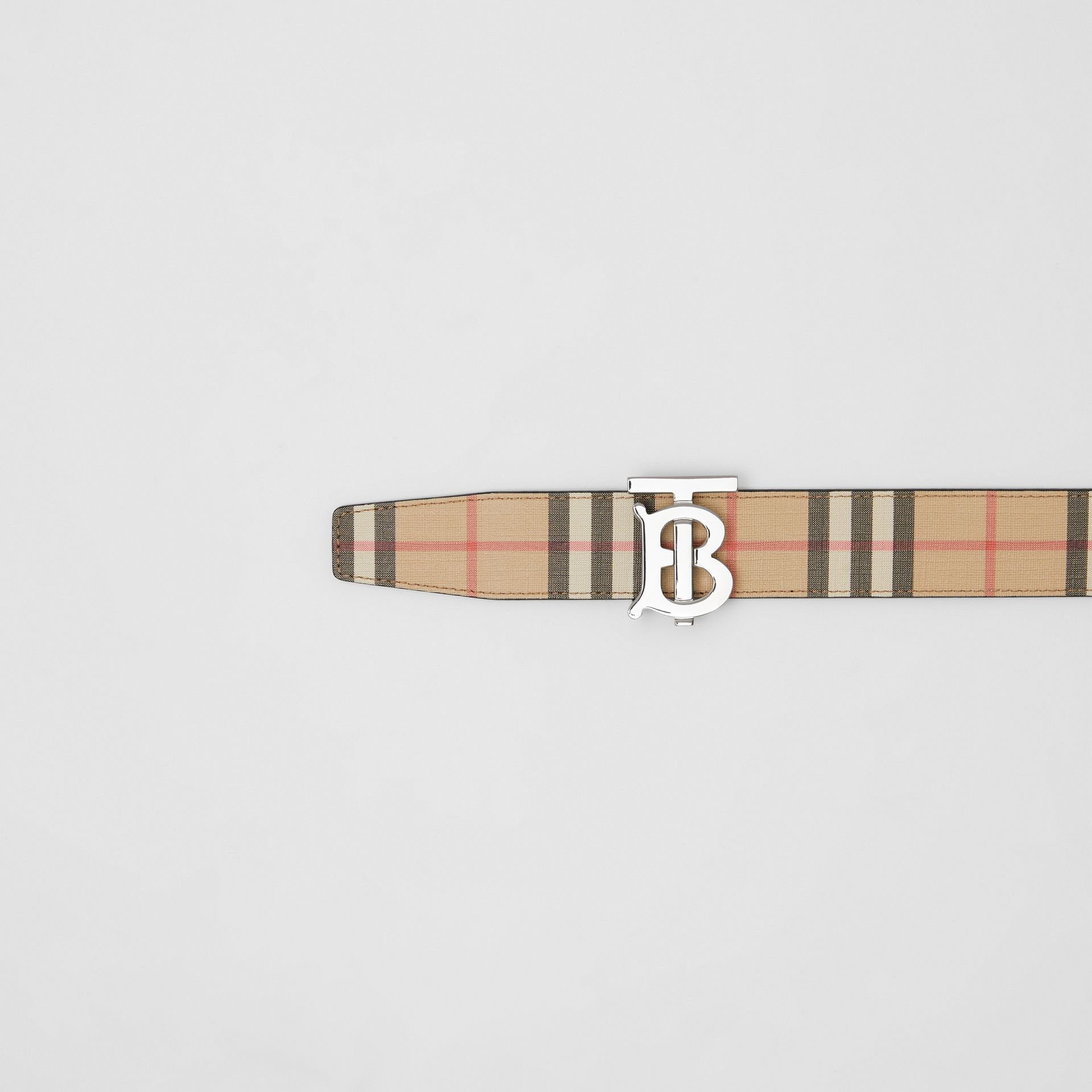 Reversible Monogram Motif Vintage Check Belt in Archive Beige - Men | Burberry United Kingdom - gallery image 1