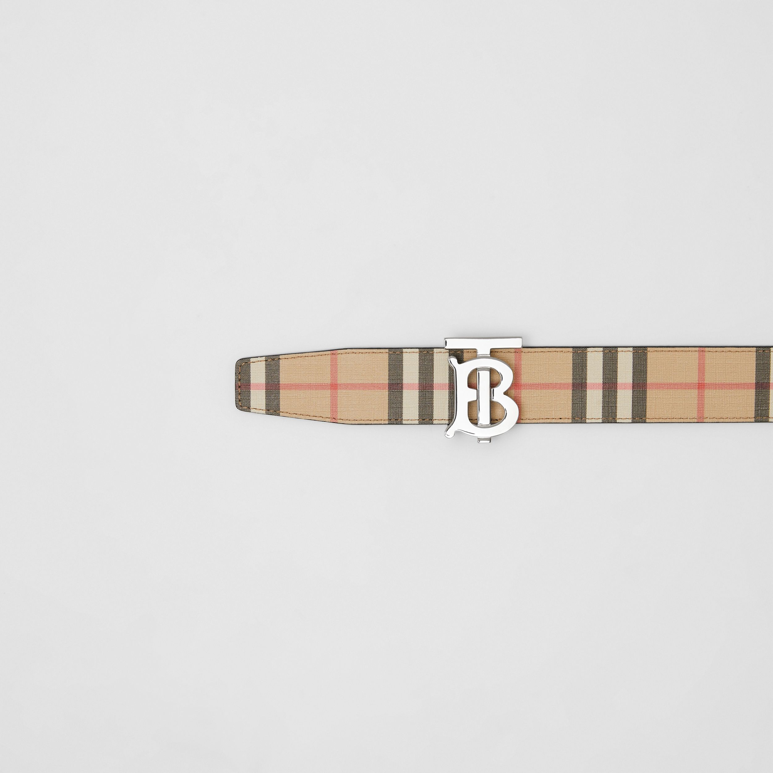 Reversible Monogram Motif Vintage Check Belt in Archive Beige - Men | Burberry - 2