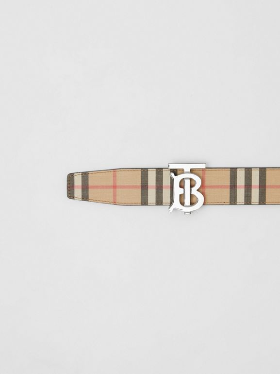Reversible Monogram Motif Vintage Check Belt in Archive Beige - Men | Burberry - cell image 1