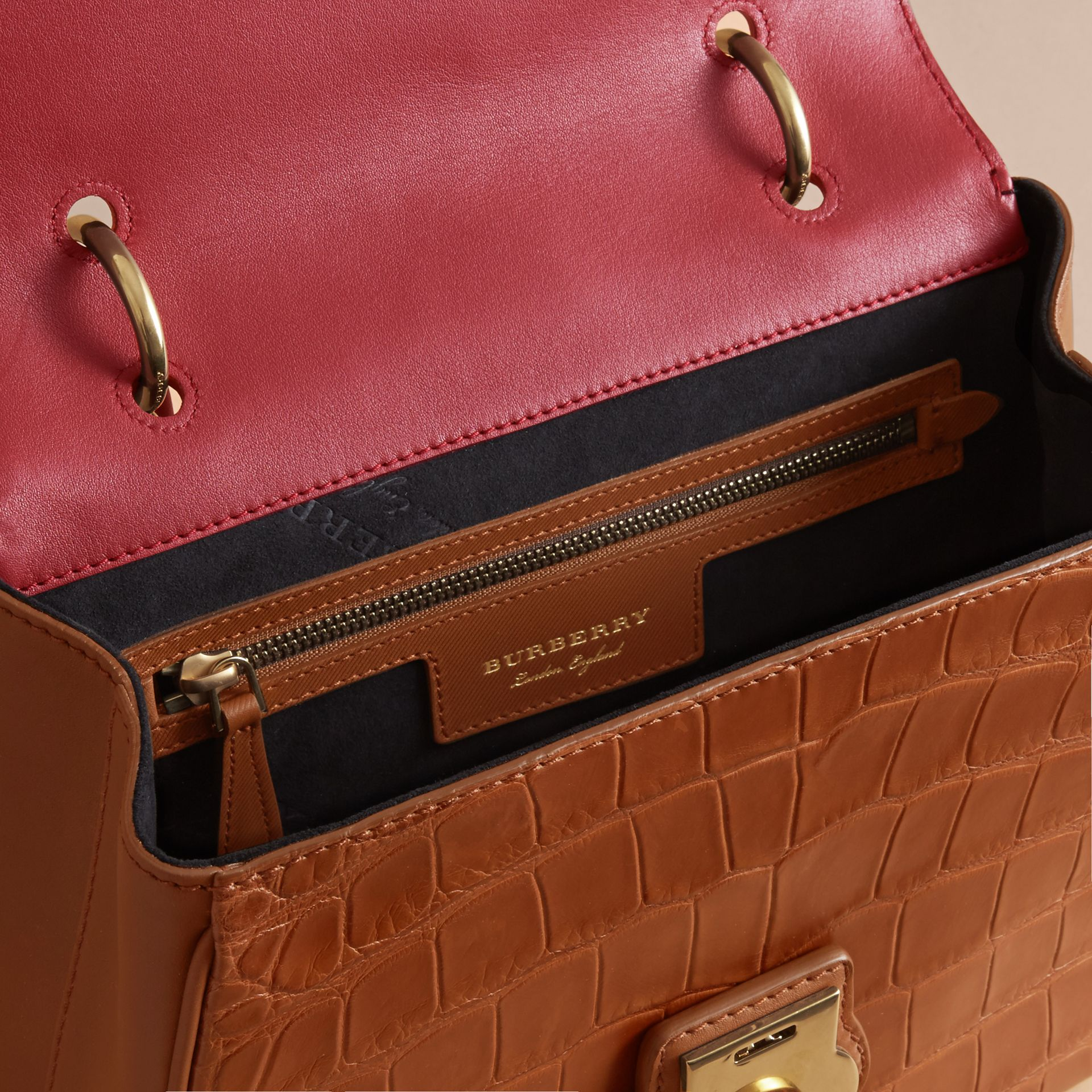 The Medium DK88 Top Handle Bag with Alligator Tan/antique Red - gallery image 6