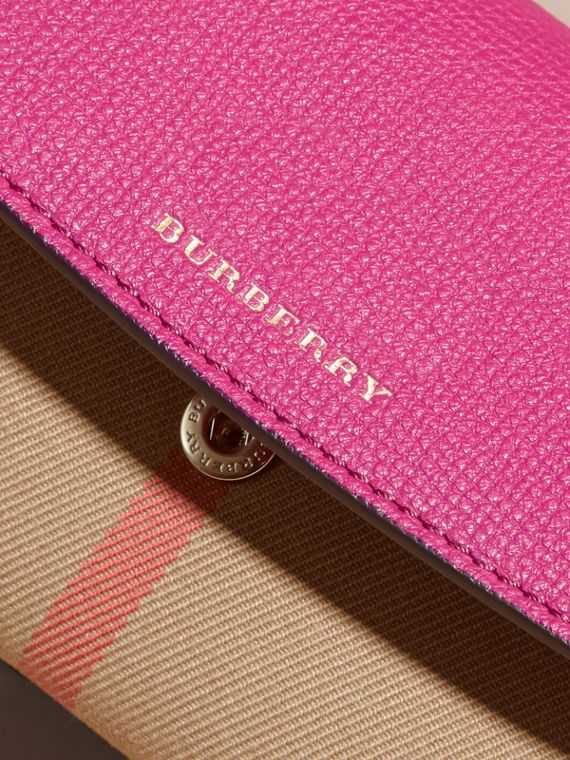 House Check and Leather Continental Wallet in Brilliant Fuchsia - Women | Burberry - cell image 2