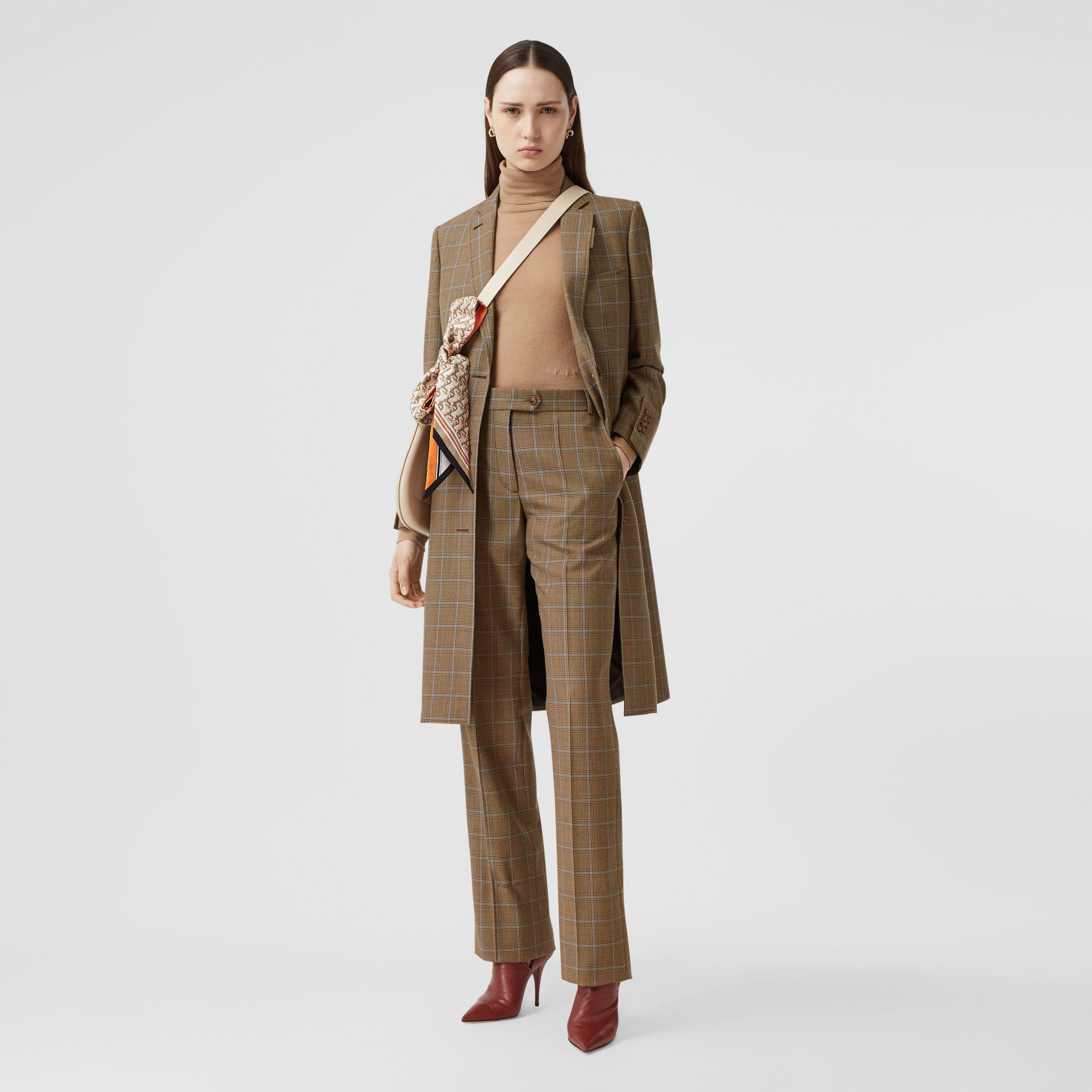 Prince of Wales Check Wool Tailored Trousers in Birch Brown - Women | Burberry - 1