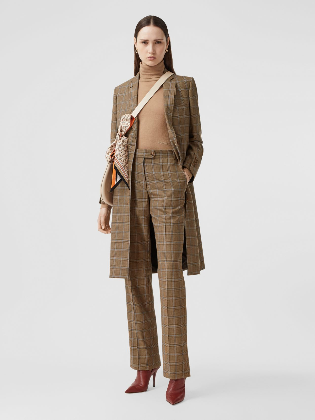 Prince of Wales Check Wool Tailored Trousers (Birch Brown)