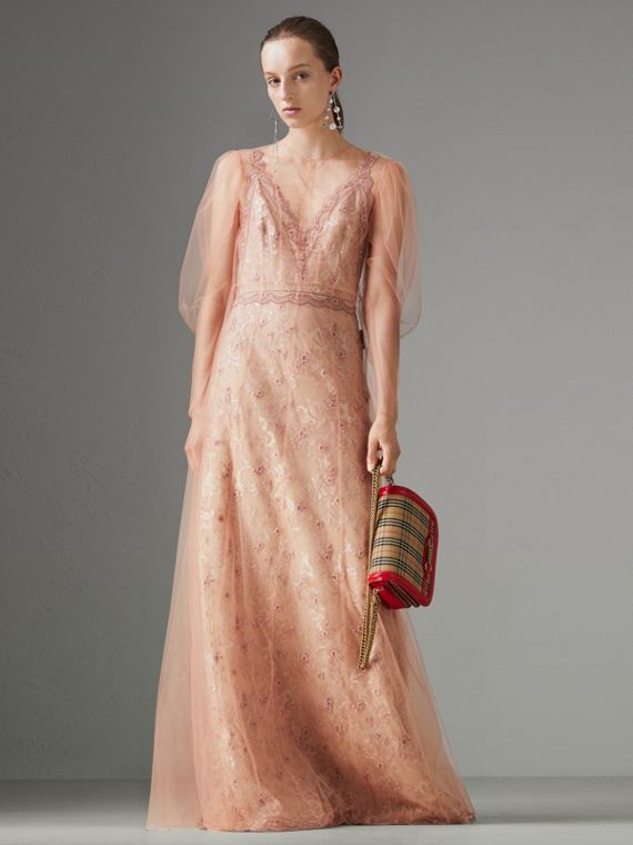 Floral-embroidered Puff-sleeve Dress in Dusty Pink