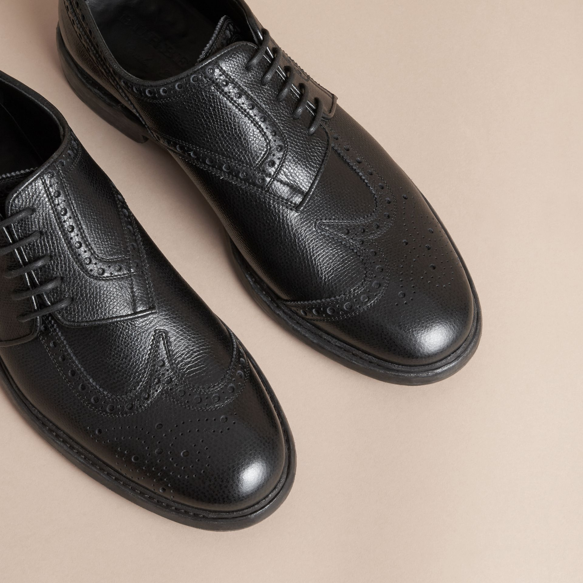 Leather Brogues with Asymmetric Closure in Black - Men | Burberry - gallery image 3