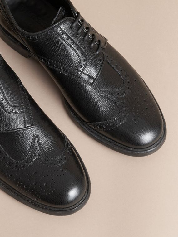 Leather Brogues with Asymmetric Closure Black