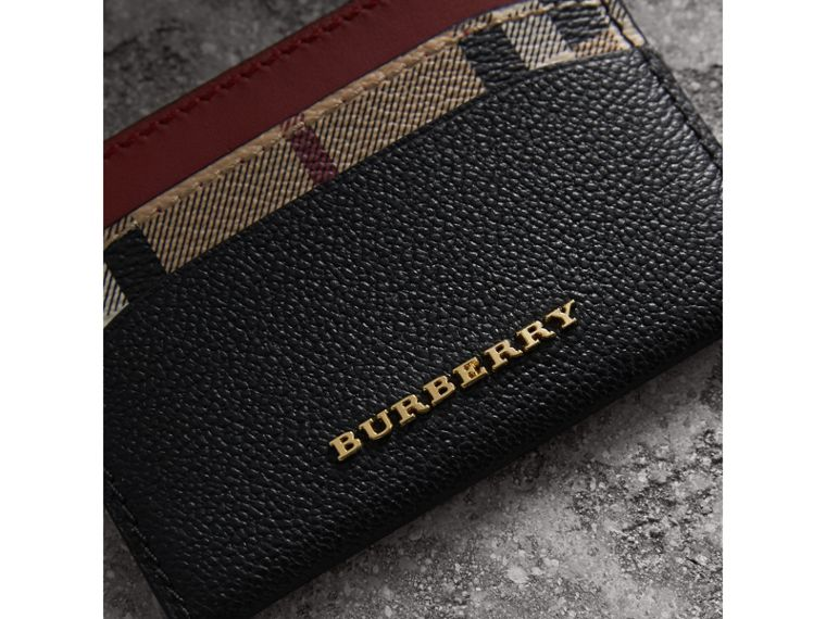 Colour Block Leather and Haymarket Check Card Case in Black/multicolour - Women | Burberry - cell image 1