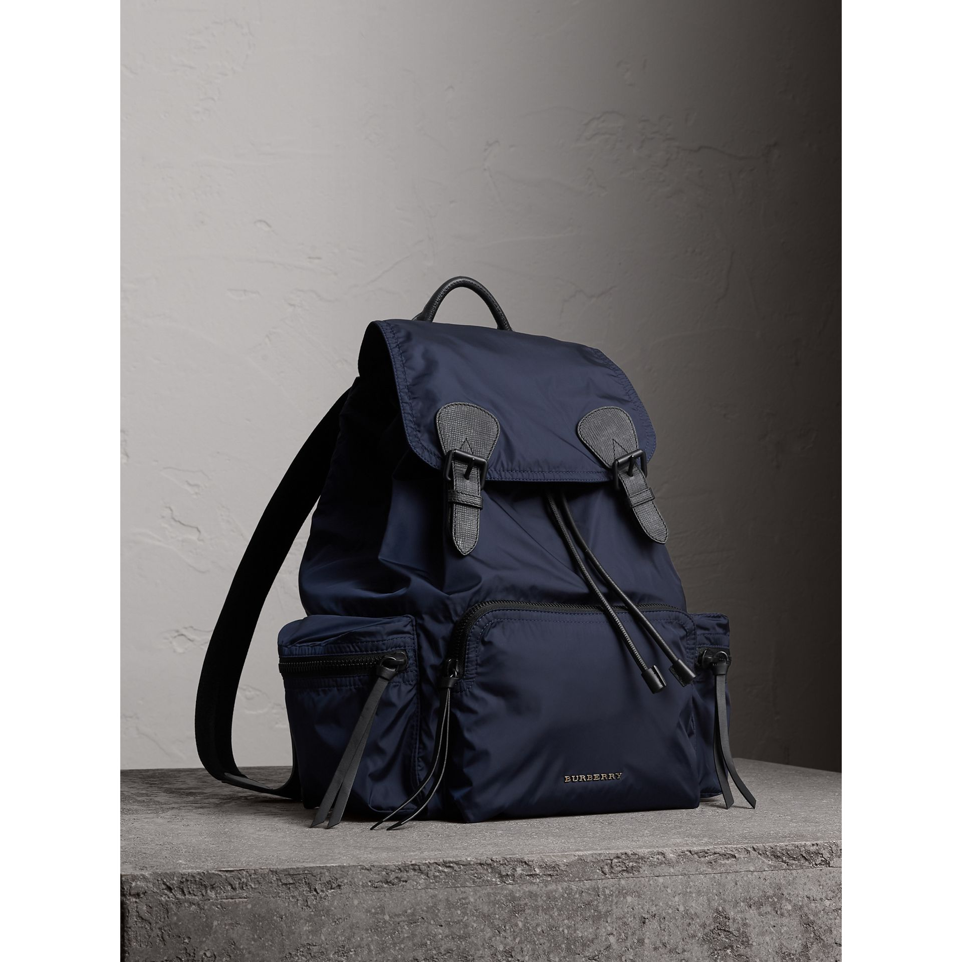 The Large Rucksack in Technical Nylon and Leather in Ink Blue - Men | Burberry - gallery image 7