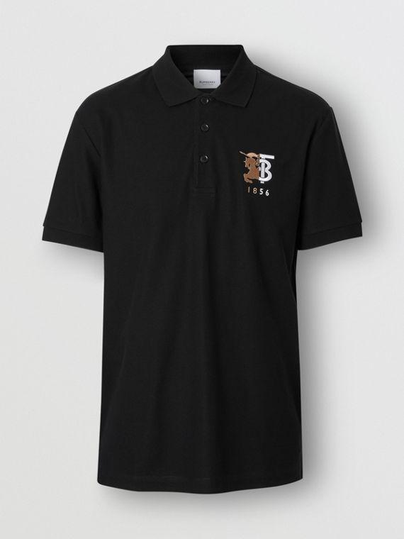 Contrast Logo Graphic Cotton Piqué Polo Shirt in Black