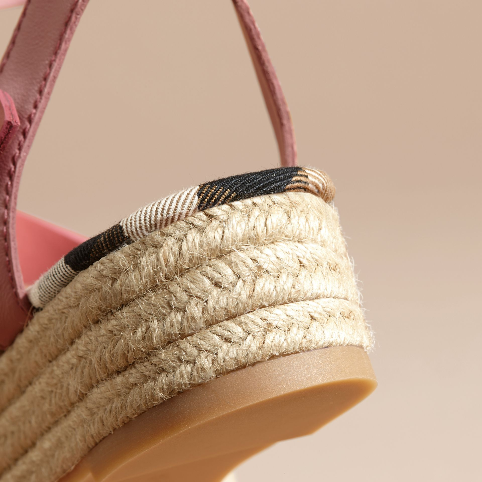 Two-tone Leather Espadrille Sandals in Dusty Pink - Women | Burberry Australia - gallery image 6