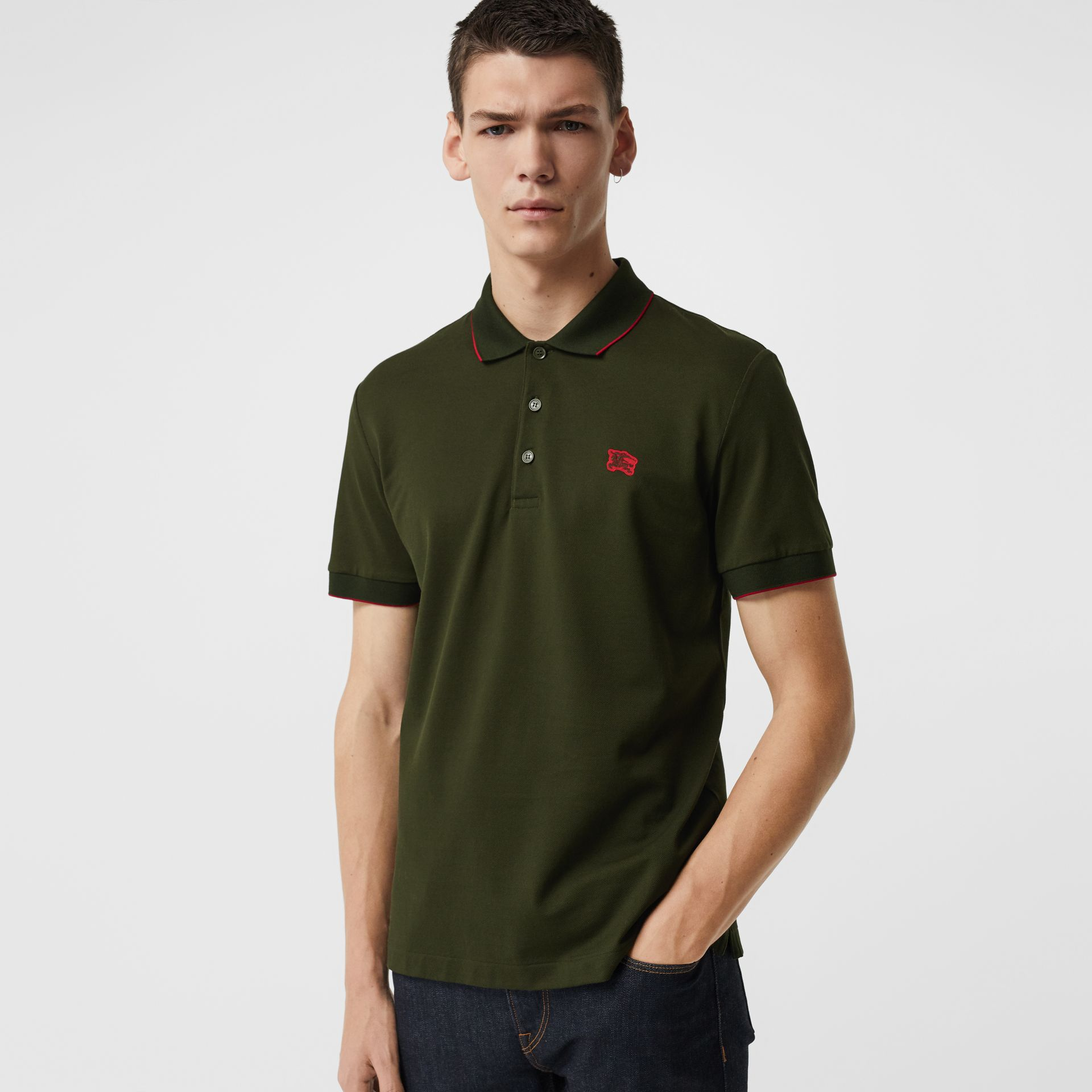 Tipped Cotton Piqué Polo Shirt in Dark Antique Green - Men | Burberry Australia - gallery image 0