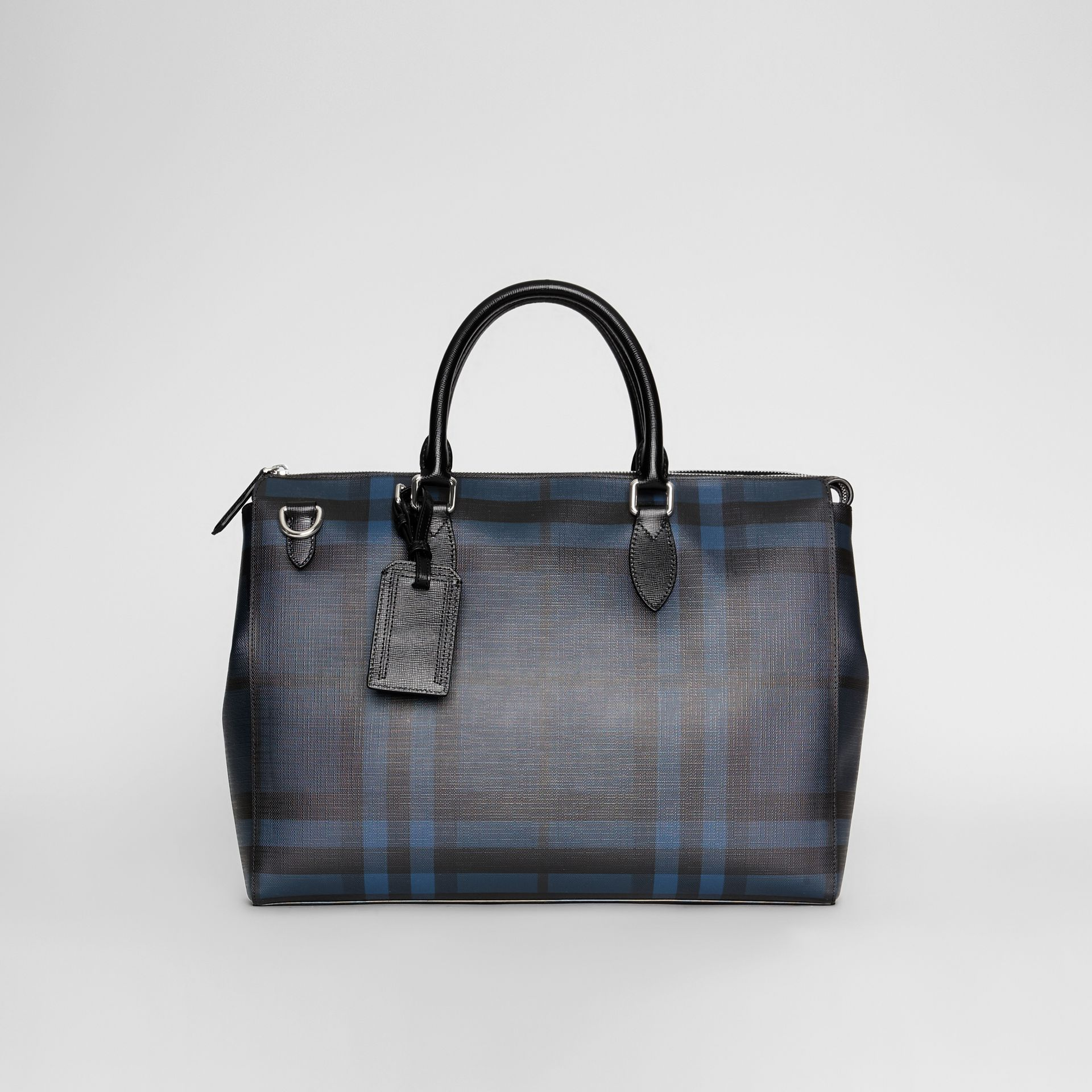 Grand attaché-case à motif London check (Marine/noir) - Homme | Burberry Canada - photo de la galerie 0