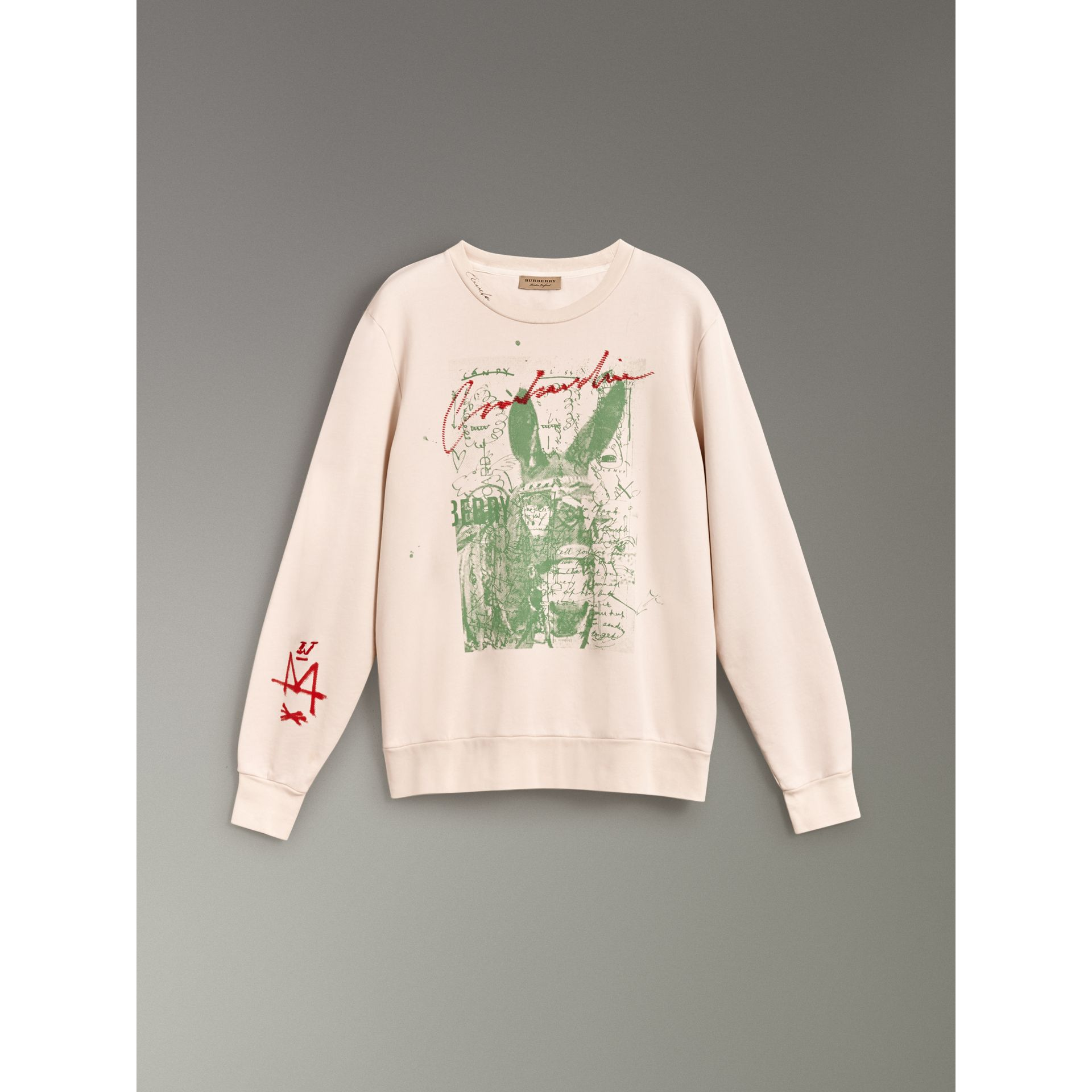 Postcard Print Cotton Sweatshirt in Pale Pink - Women | Burberry - gallery image 3