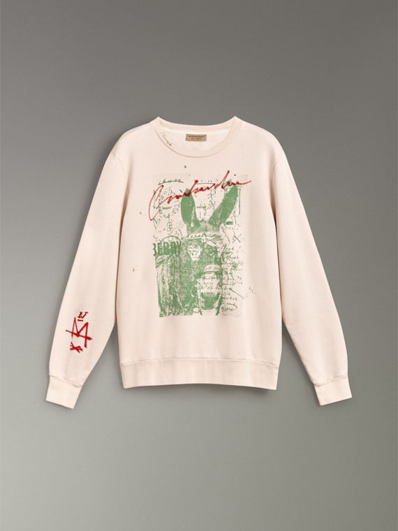 Postcard Print Cotton Sweatshirt in Pale Pink - Women | Burberry United Kingdom - cell image 3