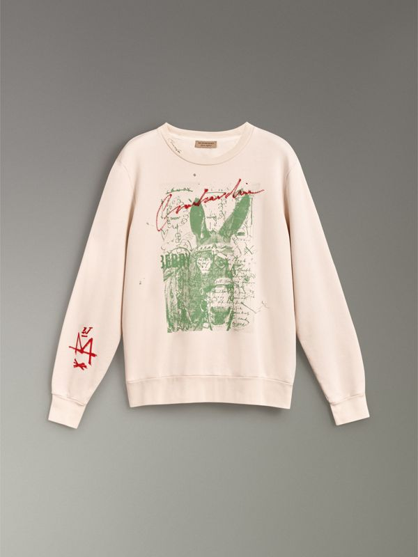 Postcard Print Cotton Sweatshirt in Pale Pink - Women | Burberry - cell image 3