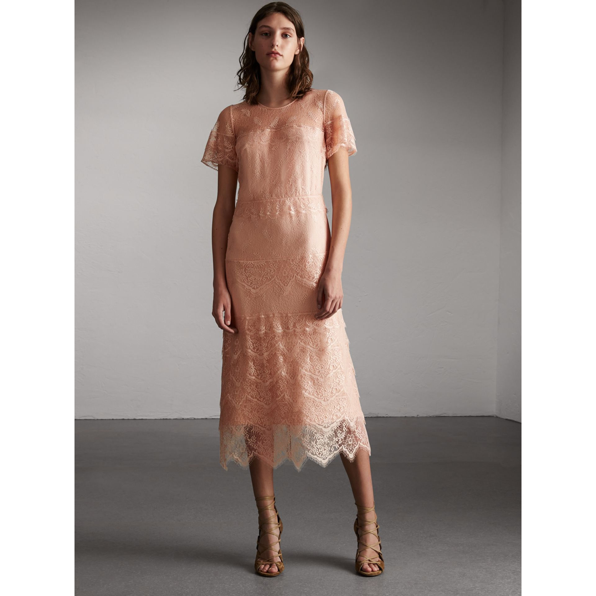 Tiered Lace Shift Dress - Women | Burberry - gallery image 1
