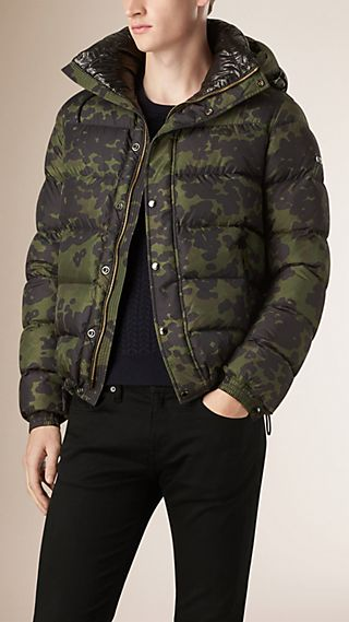 Camouflage Print Down Filled Puffer Jacket