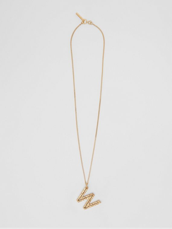 'W' Alphabet Charm Gold-plated Necklace in Light