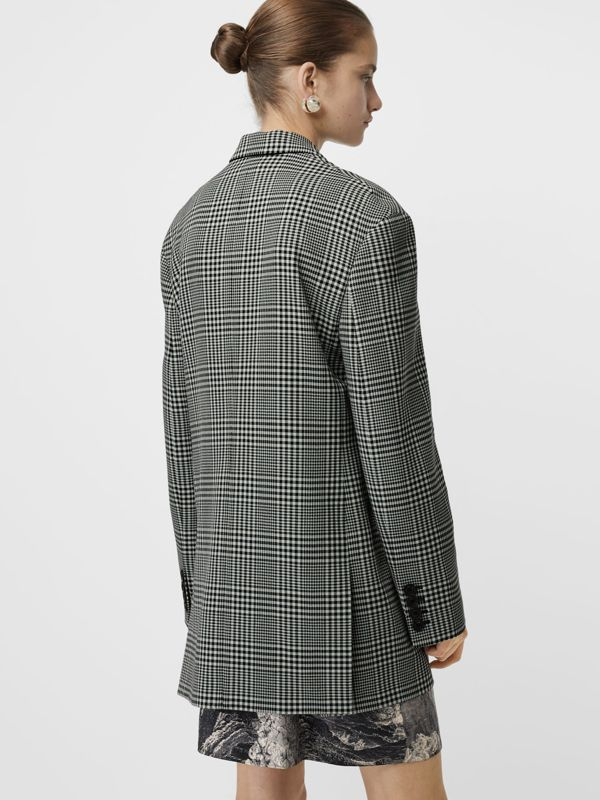 Prince of Wales Check Wool Oversized Jacket in Mist Green - Women | Burberry Singapore - cell image 2