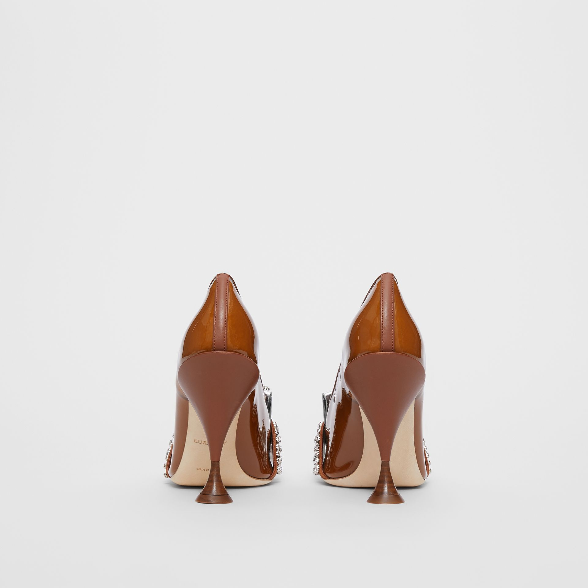 Crystal Kiltie Fringe Vinyl and Leather Point-toe Pumps in Malt Brown/black - Women | Burberry - gallery image 4
