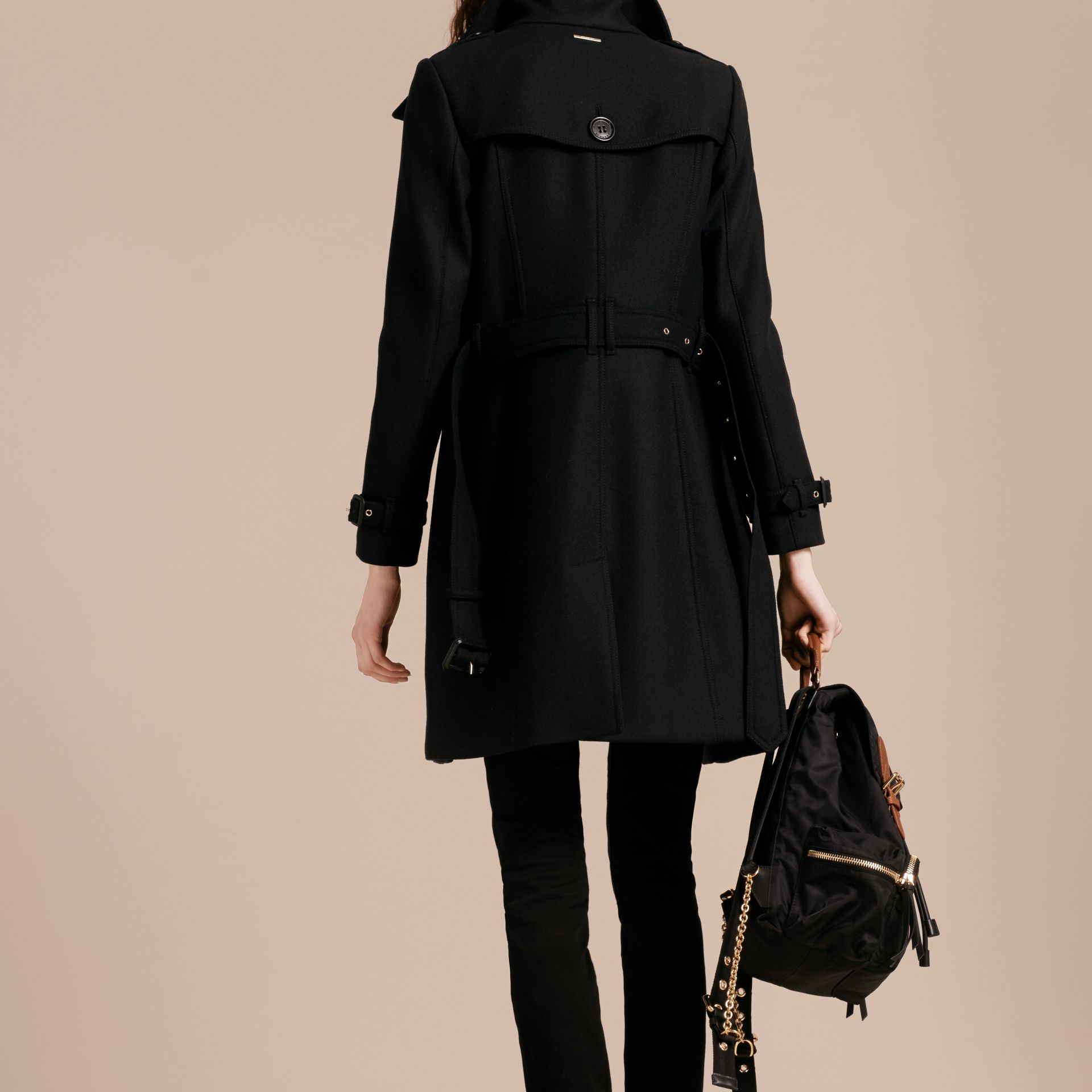 Black Technical Wool Cashmere Funnel Neck Coat Black - gallery image 3
