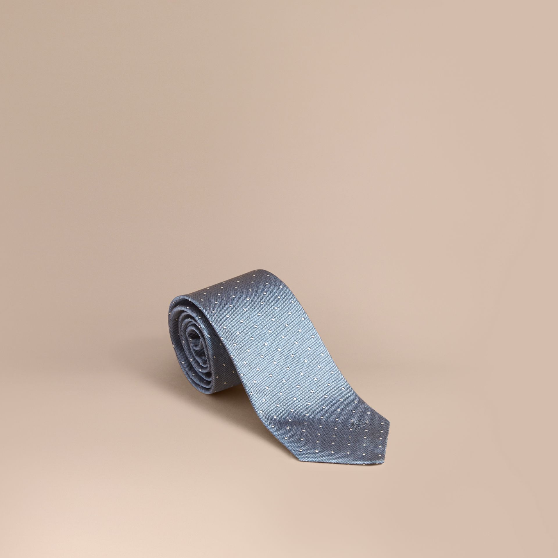 Modern Cut Polka Dot Silk Tie in Light Blue - gallery image 1