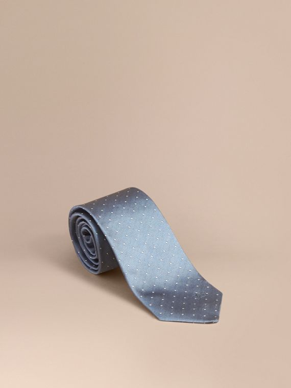Modern Cut Polka Dot Silk Tie in Light Blue