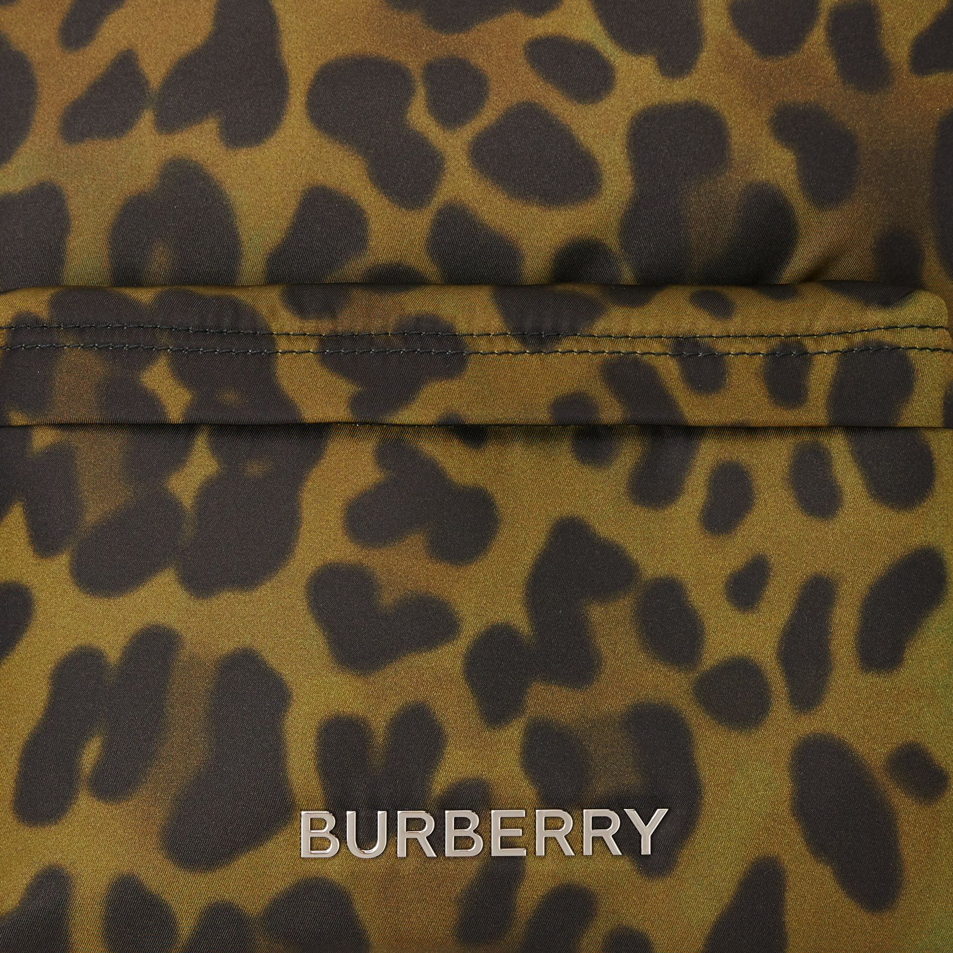 Leopard Print Nylon Backpack in Khaki Green | Burberry - gallery image 1