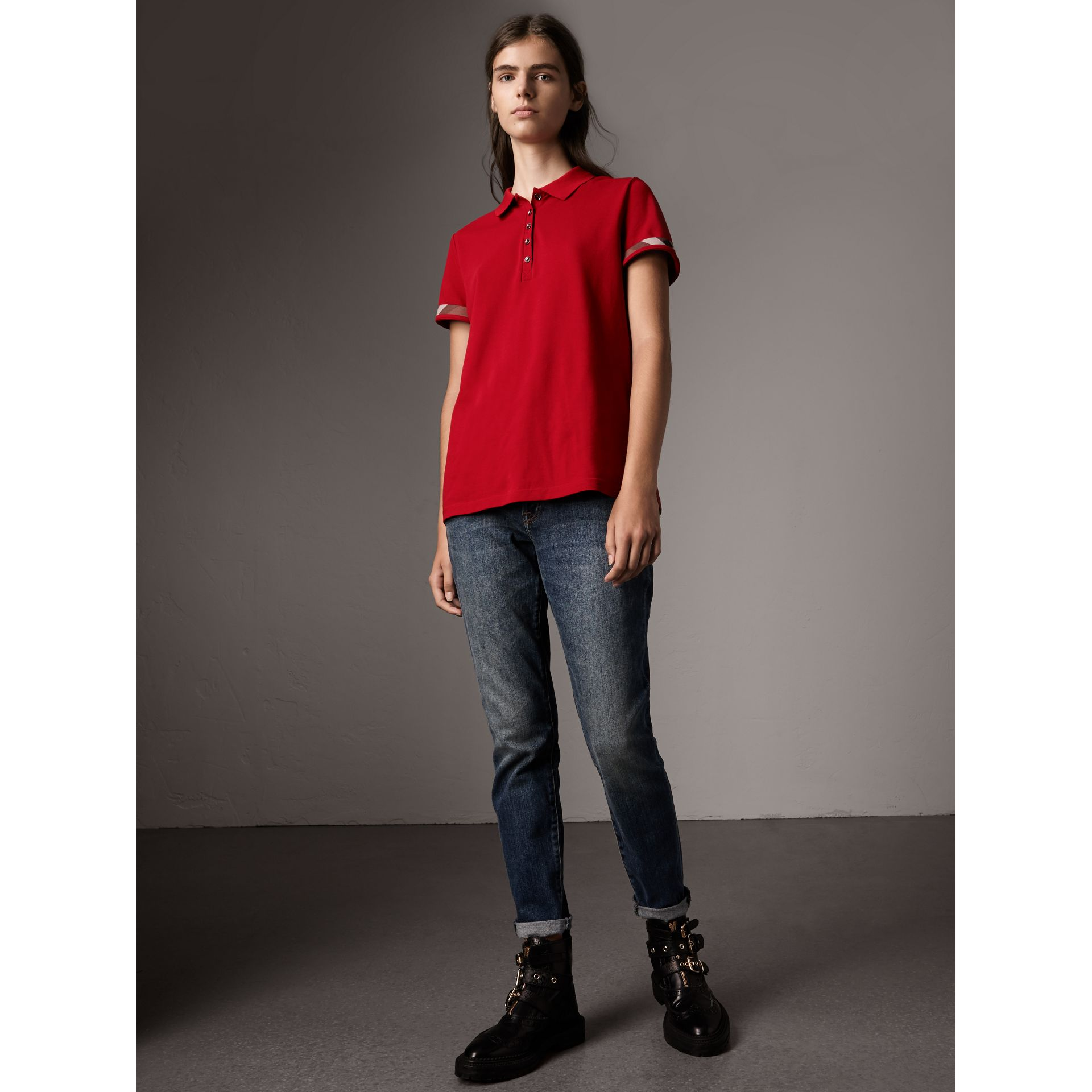 Check Trim Stretch Cotton Piqué Polo Shirt in Military Red - Women | Burberry Singapore - gallery image 1