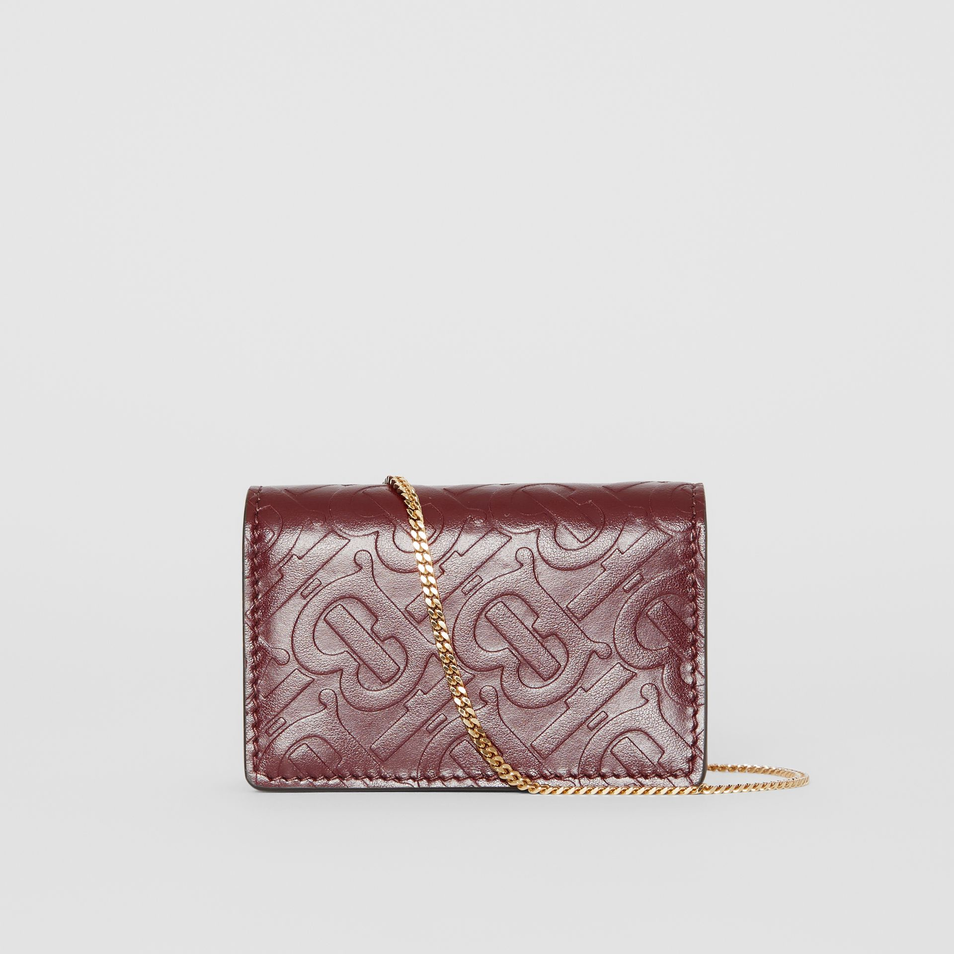 Monogram Leather Card Case with Detachable Strap in Oxblood | Burberry Canada - gallery image 7