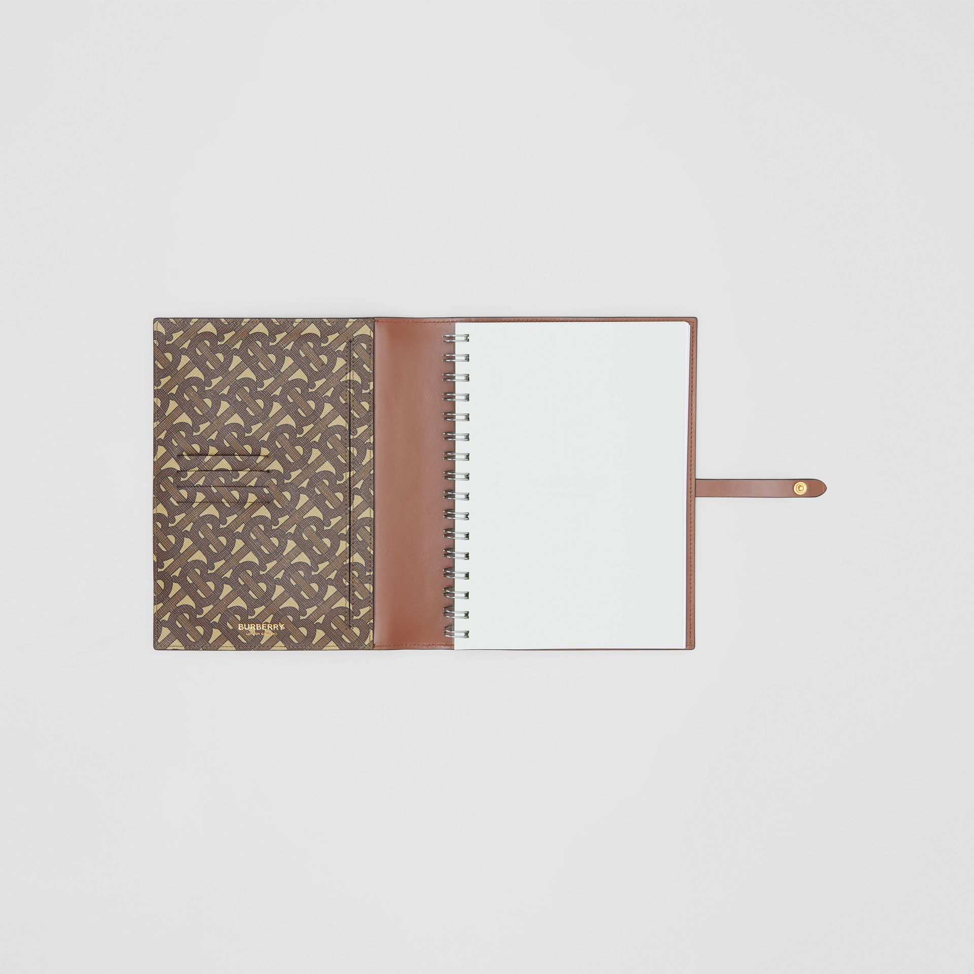 Monogram Print E-canvas Notebook Cover in Bridle Brown | Burberry - gallery image 2
