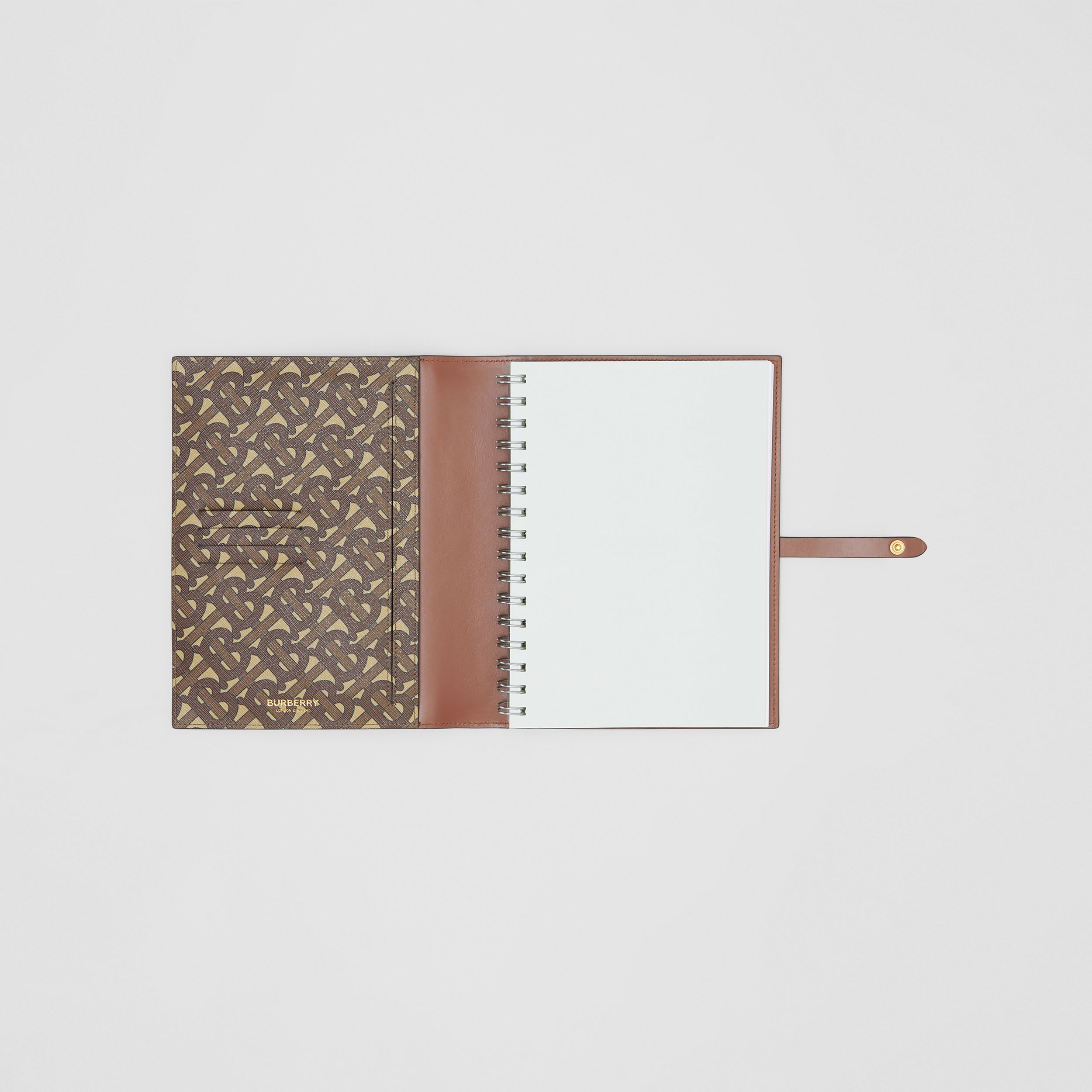 Monogram Print E-canvas Notebook Cover in Bridle Brown | Burberry Australia - 3